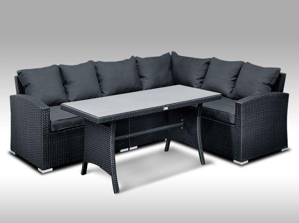 Luxusní sedací a jídelní souprava  PAOLA 3 2v1 černá 4 osoby + DÁREK