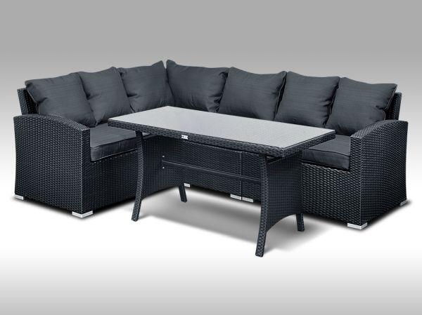 Luxusní sedací a jídelní souprava  PAOLA 4 2v1 černá 4 osoby + DÁREK