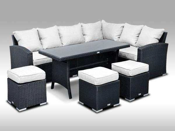 Umělý ratan - sedací a jídelní souprava PAOLA 5 2v1 černá, bílé polstry POSLEDNÍ 1 sestava
