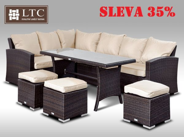Luxusní sedací a jídelní souprava  PAOLA II 2v1 hnědá 4-7 osob, světle hnědý polstr