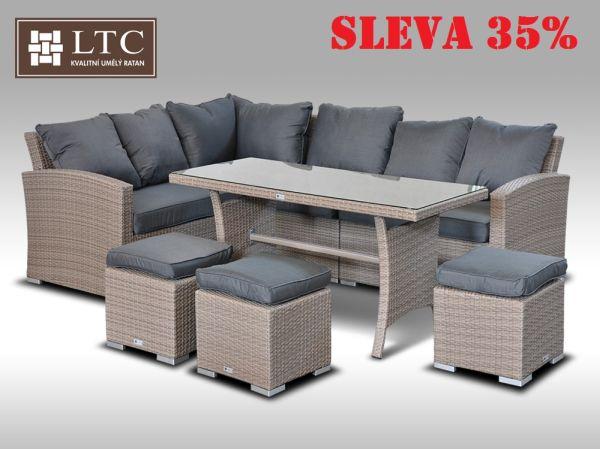 Luxusní sedací a jídelní souprava  PAOLA II 2v1 šedobéžová 4-7 osob