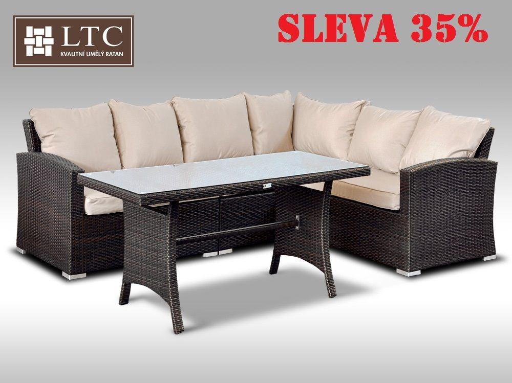 Luxusní sedací a jídelní souprava  PAOLA III 2v1 hnědá 4 osoby, světle hnědý polstr
