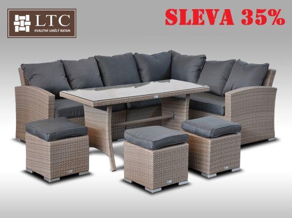 Luxusní sedací a jídelní souprava  PAOLA I 2v1 šedobéžová 4-7 osob
