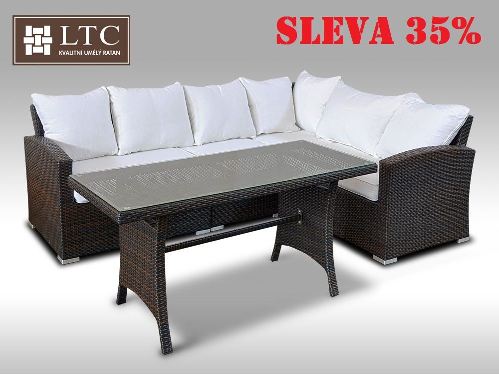 Luxusní sedací a jídelní souprava  PAOLA III 2v1 hnědá 4 osoby
