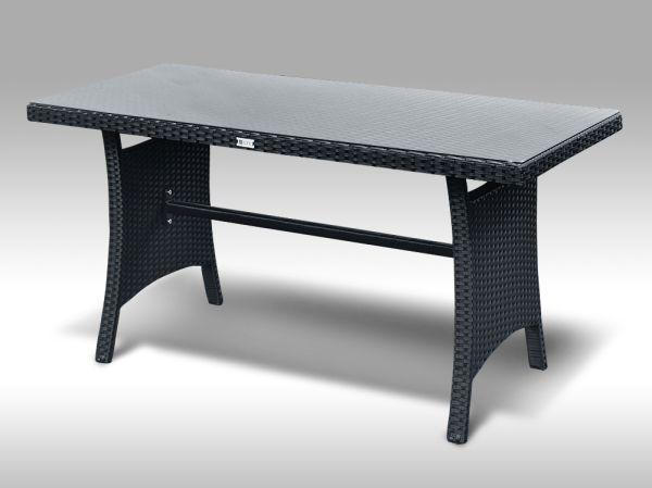 Jídelní stůl z umělého ratanu Paola 140x60 černý