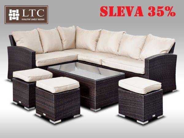 Luxusní sedací a jídelní souprava  PAOLA VI hnědá 4-7 osob, světle hnědý polstr