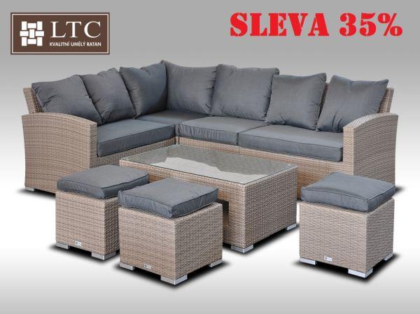 Luxusní sedací a jídelní souprava  PAOLA VI šedobéžová 4-7 osob