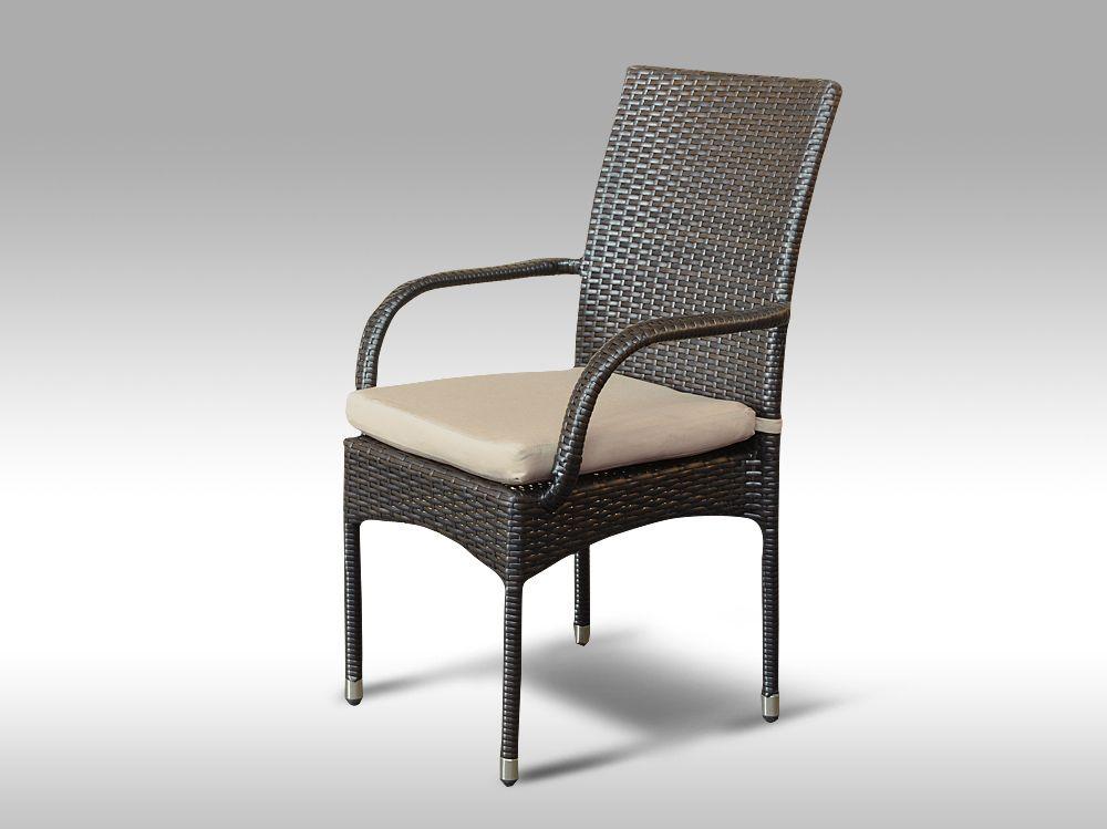 Židle z umělého ratanu Pietro hnědá, světle hnědý polstr