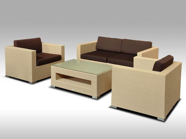 Umělý ratan - luxusní sedací souprava ALLEGRA II písková 4 osoby + DÁREK