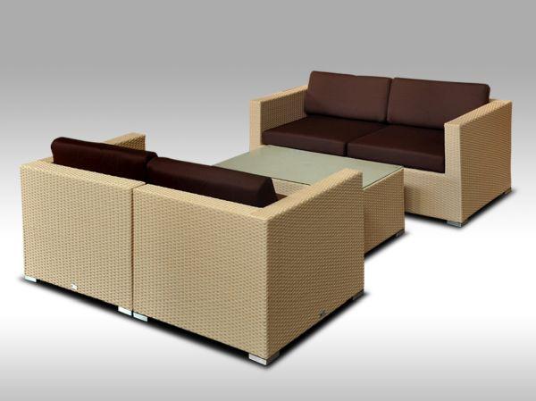 Umělý ratan - luxusní sedací souprava ALLEGRA 5 písková 4 osoby + DÁREK
