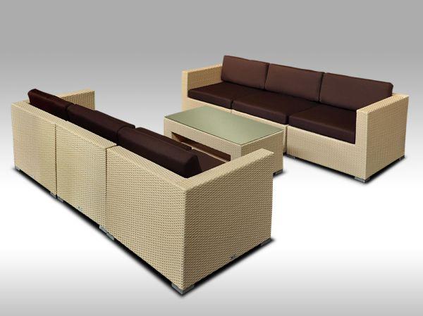Umělý ratan - luxusní sedací souprava ALLEGRA 6 písková 6 osob + DÁREK