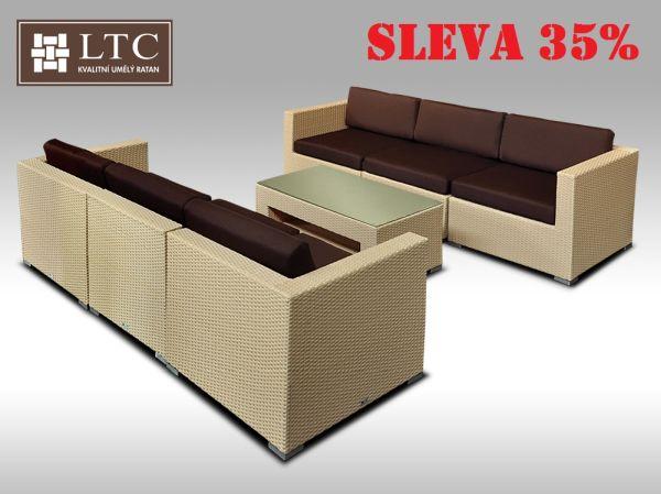 Umělý ratan - luxusní sedací souprava ALLEGRA VI písková 6 osob