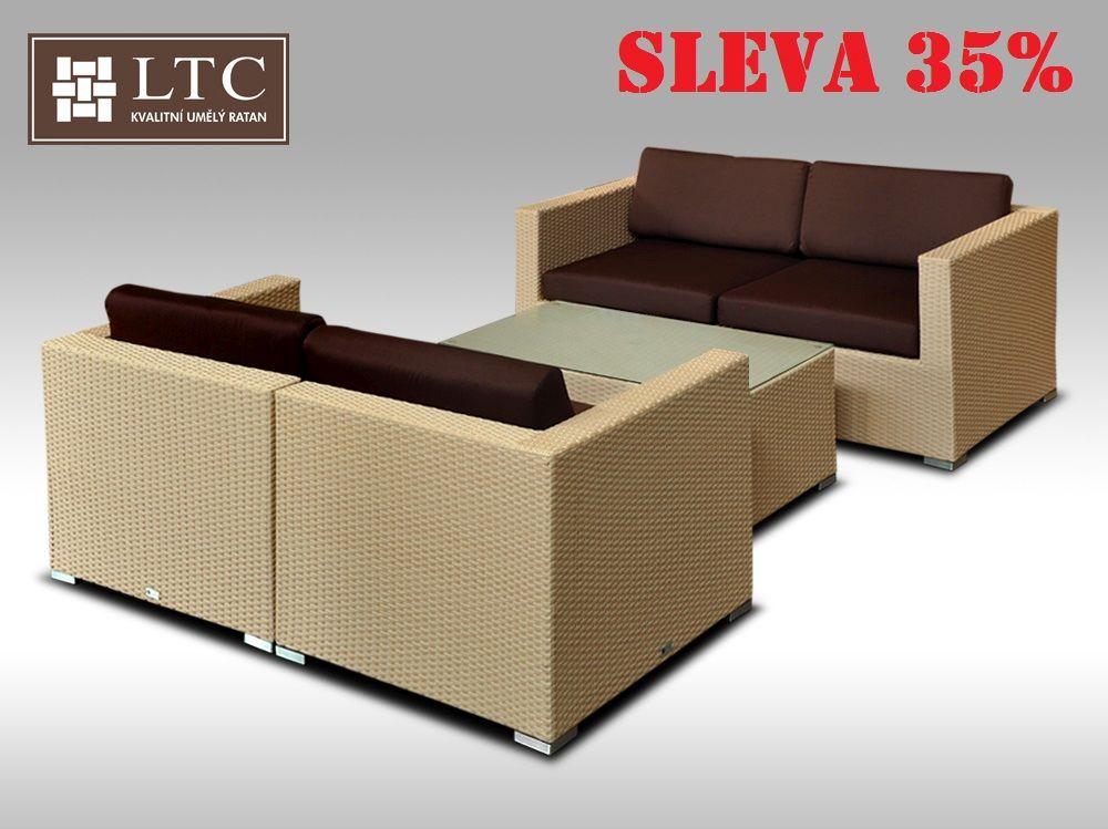 Umělý ratan - luxusní sedací souprava ALLEGRA V písková 4 osoby