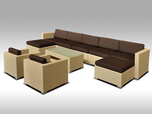 Luxusní rohová sedací souprava ALLEGRA 12 písková 7-9 osob + DÁREK