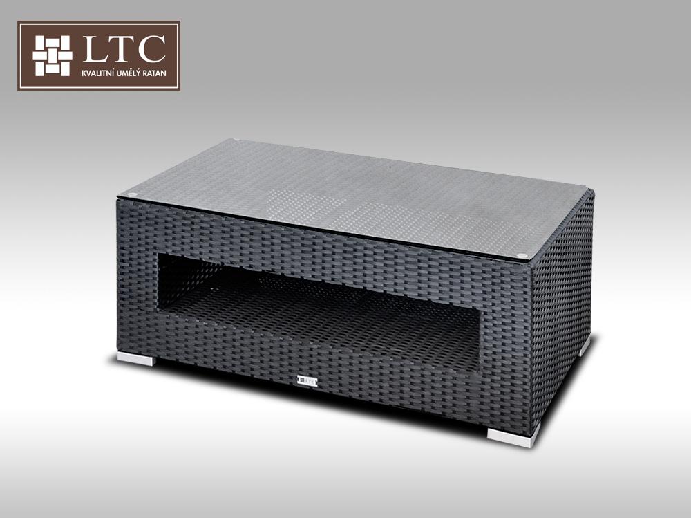 Konferenční stolek z umělého ratanu ALLEGRA černý