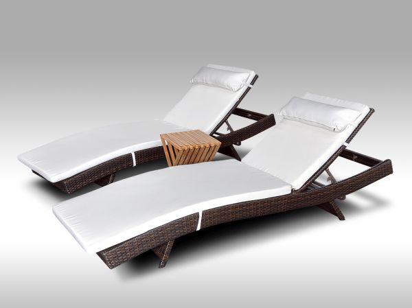 Set 2 lehátka Tito a 1 stolek Flores, bílé polstry