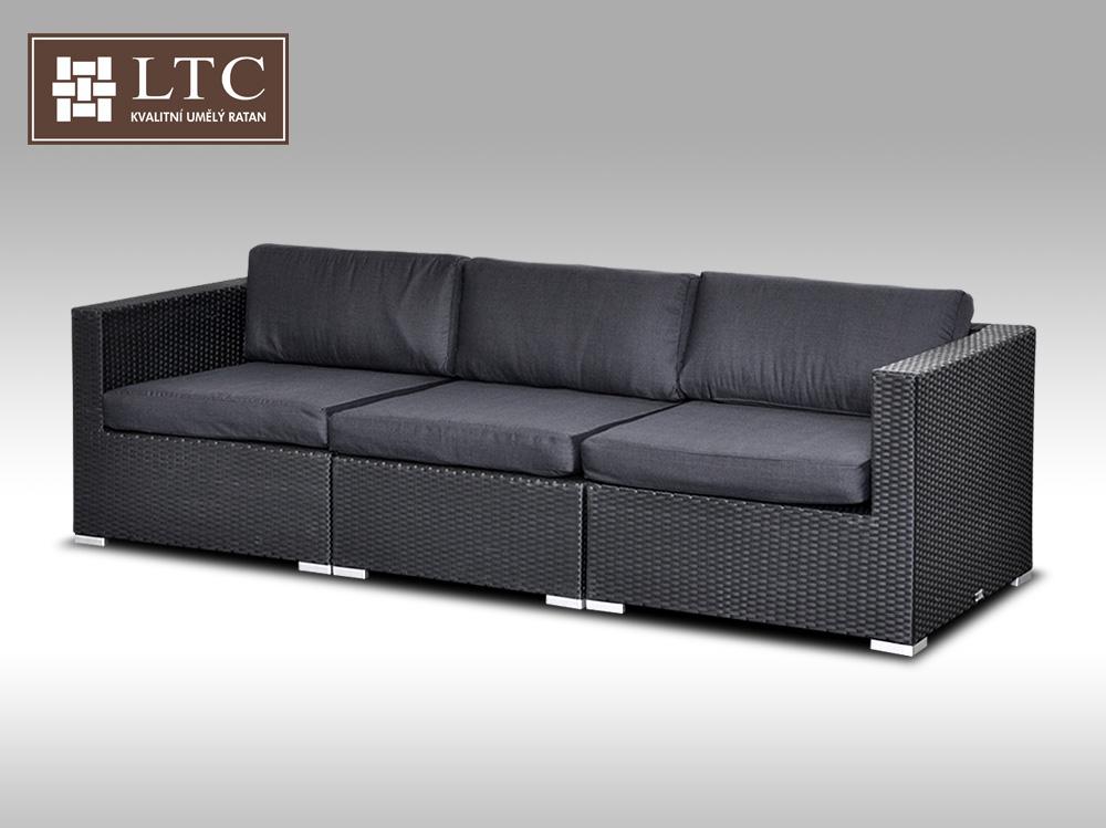 Umělý ratan - sofa ALLEGRA černá 3 osoby