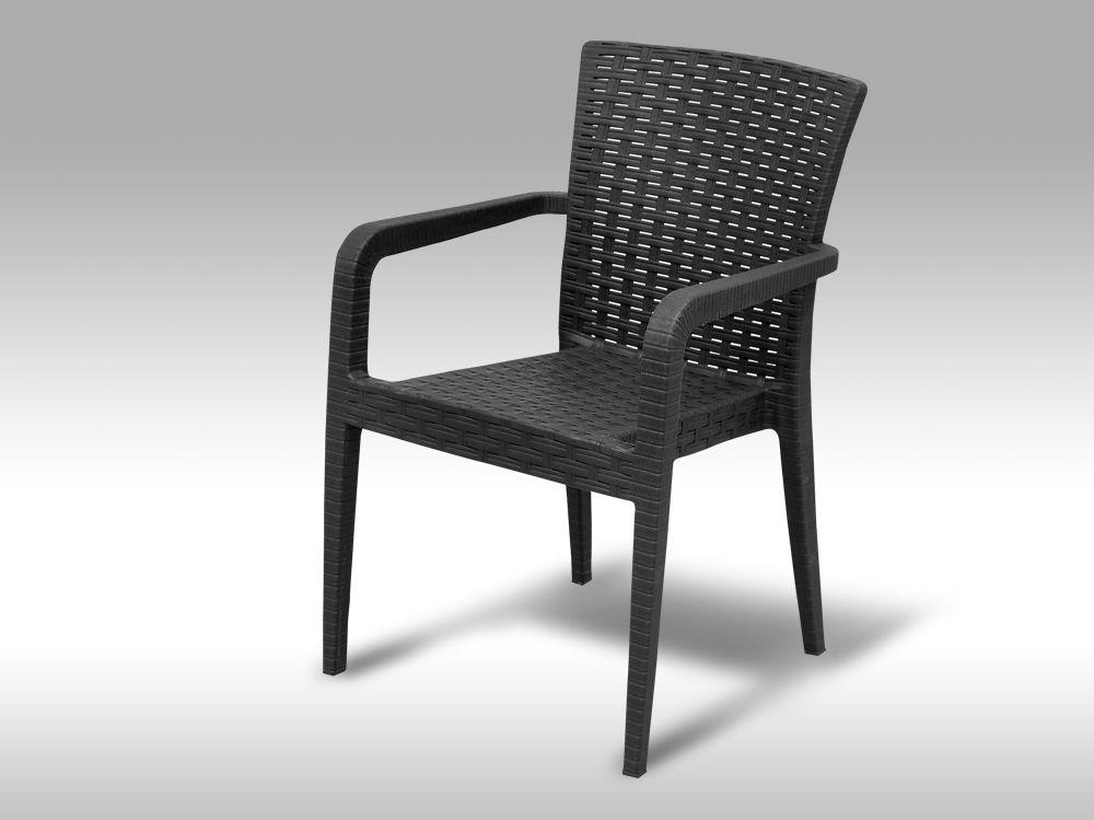 Zahradní plastová židle s područkami Valencia antracitová