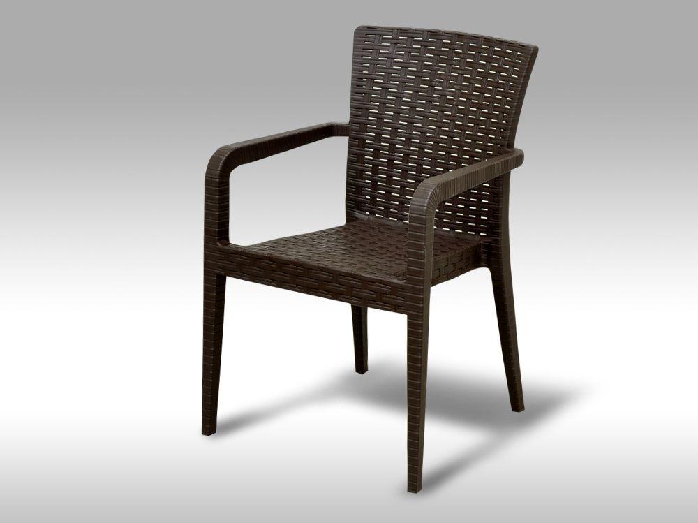 Zahradní plastová židle s područkami Valencia hnědá