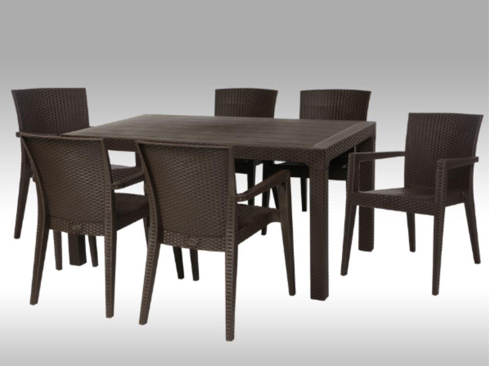 Plastová jídelní sestava Arizona + 6 židlí Montana