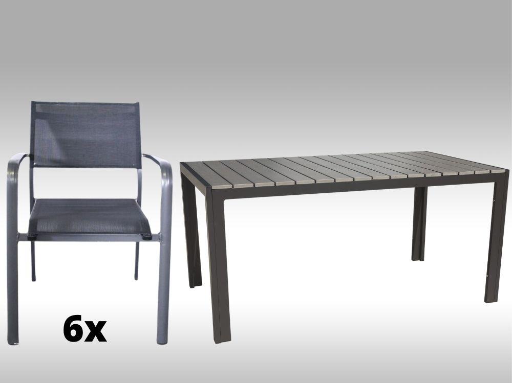 Hliníkový zahradní nábytek: stůl Jersey 160cm šedý a 6 stohovatelných křesel Juventus