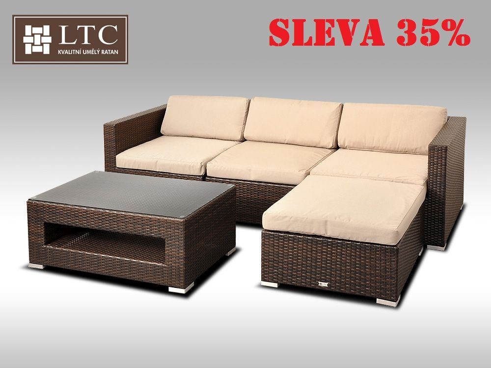 Luxusní rohová sedací souprava ALLEGRA VII hnědá 3-4 osoby, světle hnědý polstr