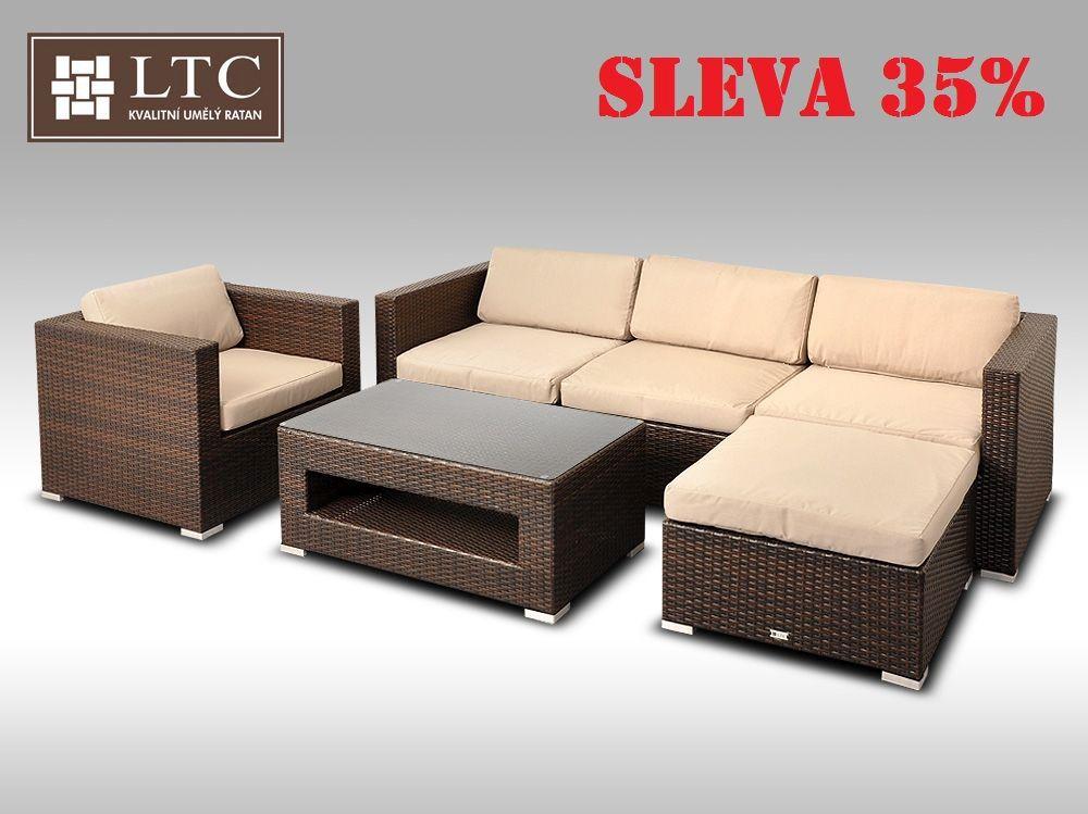 Luxusní rohová sedací souprava ALLEGRA VIII hnědá 4-5 osob, světle hnědý polstr