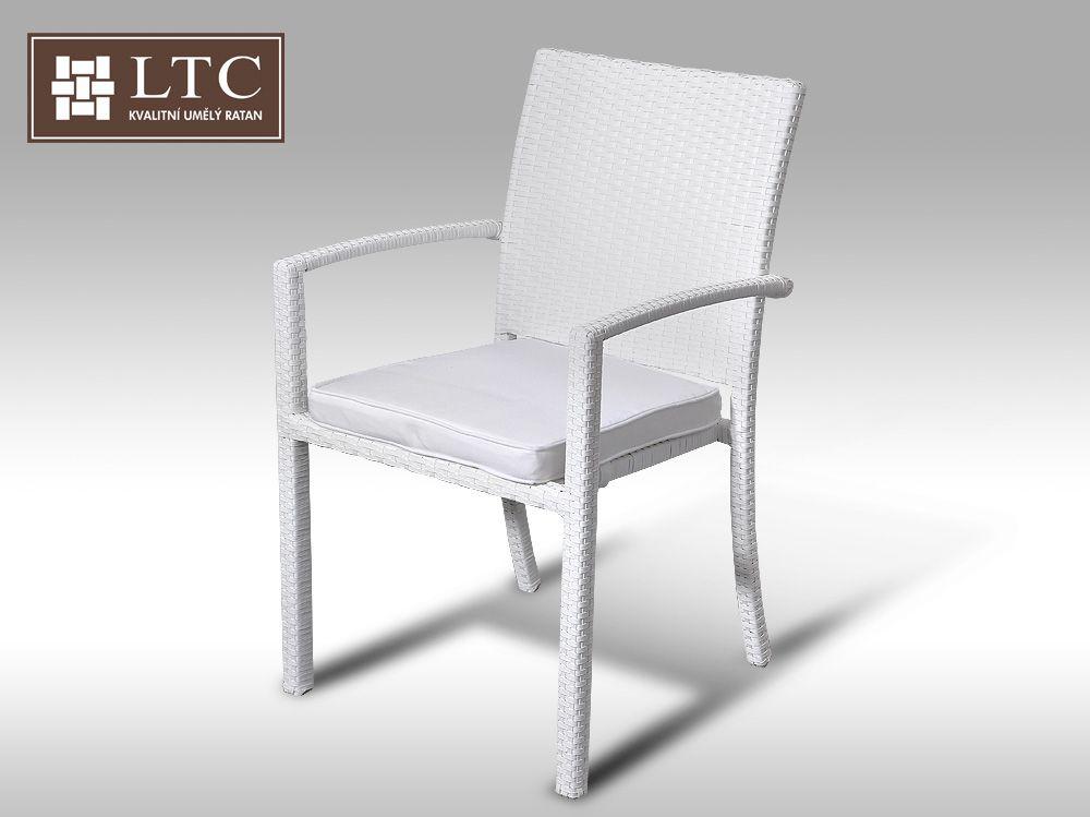 Židle z umělého ratanu Armino bílá