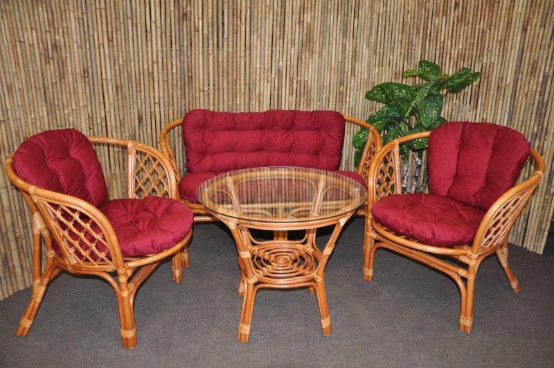 Ratanová sedací souprava Cayman velká cognac vínová