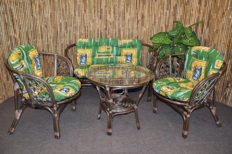 Ratanová sedací souprava Cayman velká hnědá, polstr zelený