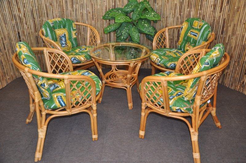 Ratanová sedací souprava Cayman 4+1 medová, polstr zelený