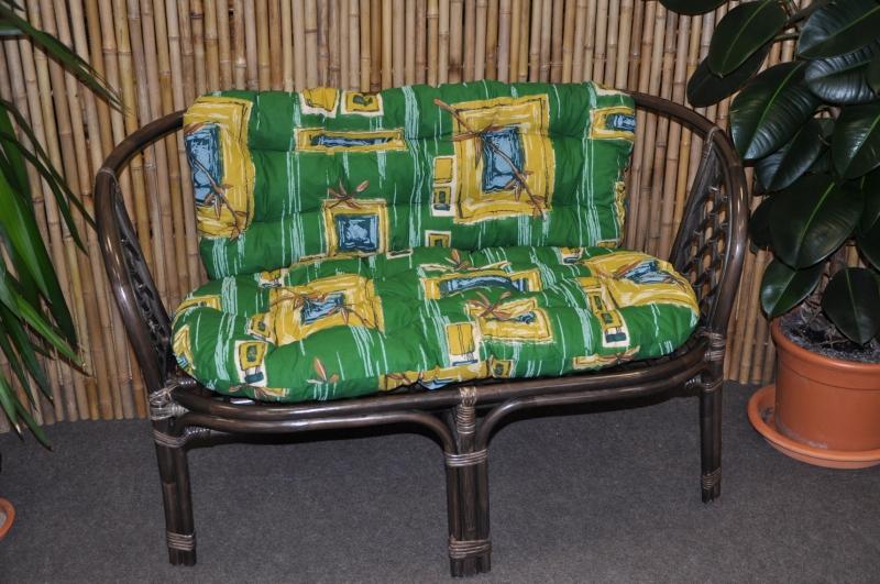 Ratanová lavice Cayman hnědá zelený polstr