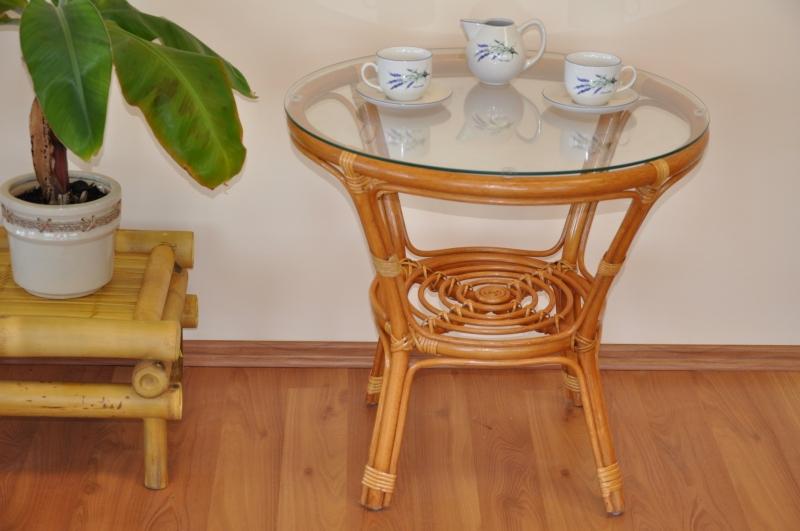 Ratanový stolek Cayman medový se sklem
