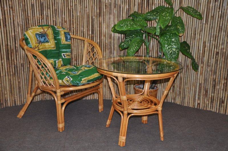 Ratanová sedací souprava Cayman 1+1 medová, polstr zelený