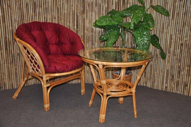 Ratanová sedací souprava Cayman 1+1 medová, polstr vínový MAXI