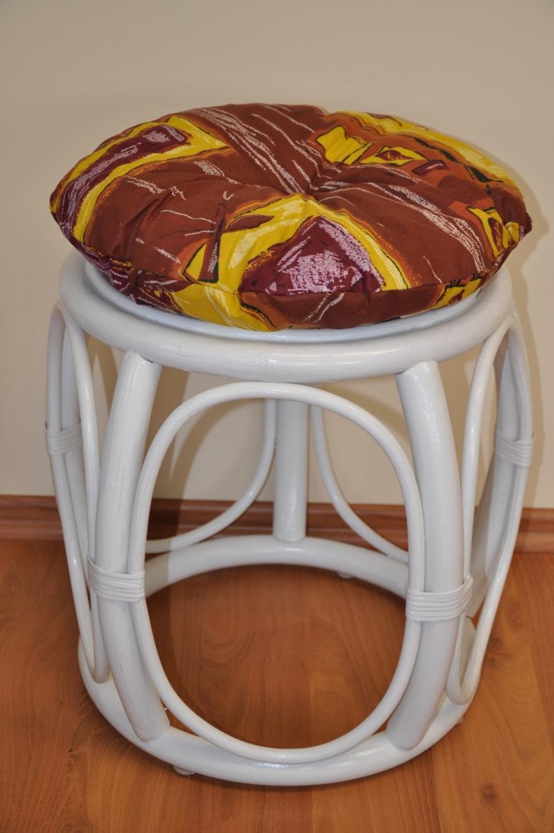 Polstr na ratanovou taburetku hnědý list - průměr 35 cm