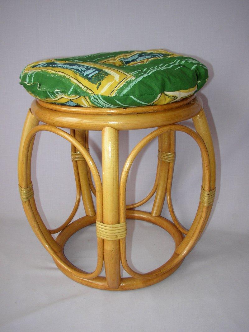 Polstr na ratanovou taburetku zelený - průměr 35 cm