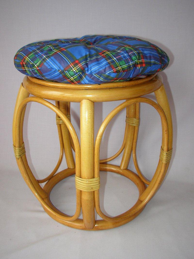 Polstr na ratanovou taburetku modrý - průměr 35 cm