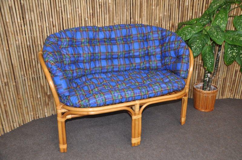 Ratanová lavice Cayman medová polstr modrý MAXI