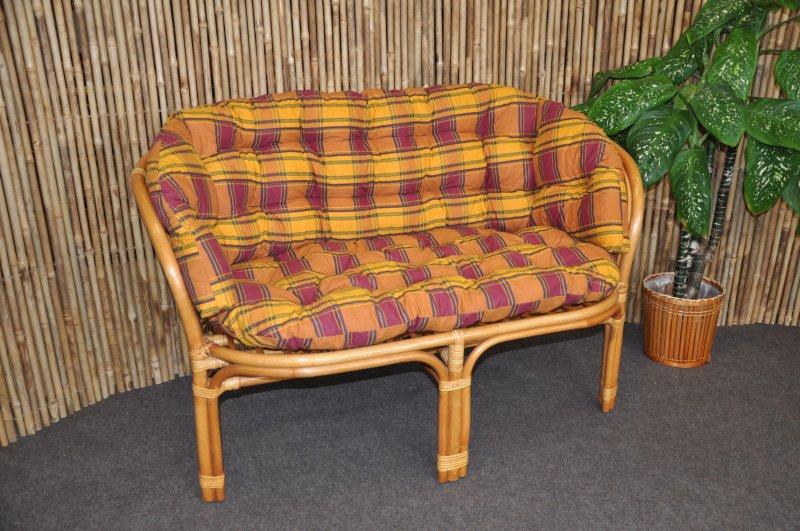 Ratanová lavice Cayman medová polstr okrový MAXI