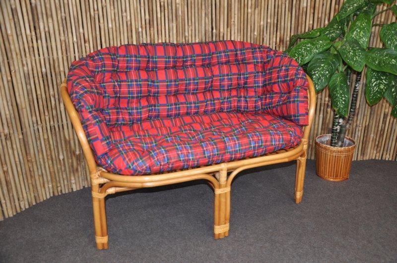 Ratanová lavice Cayman medová polstr červený MAXI