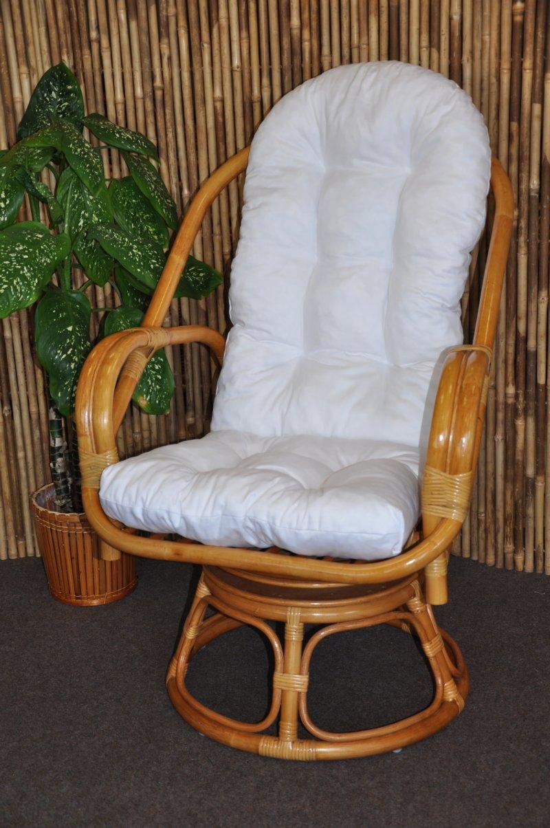 Ratanové křeslo Rapa Nui medové polstr bílý