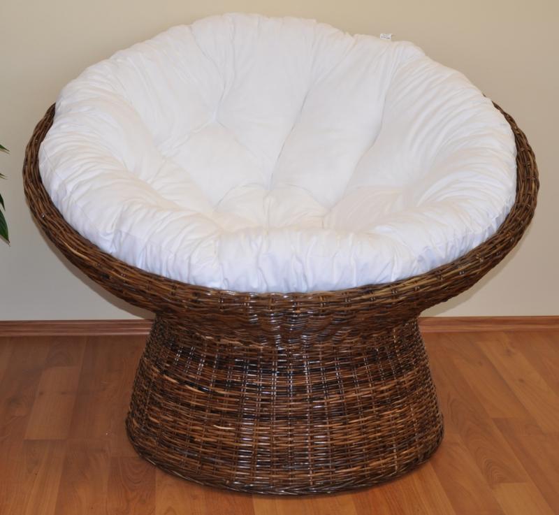 Ratanový papasan Coco polstr bílý
