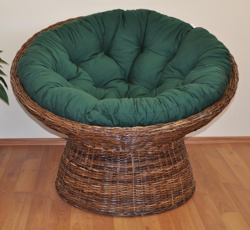 Ratanový papasan Coco polstr zelený dralon