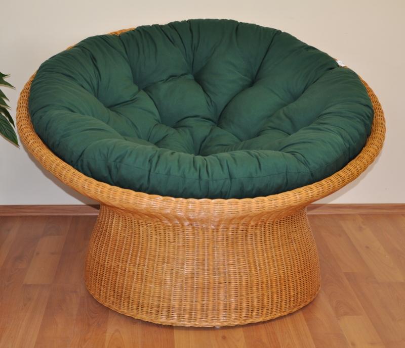 Ratanový papasan wicker polstr zelený dralon