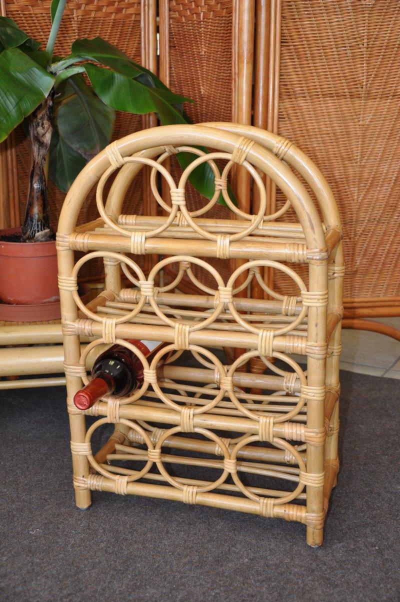 Ratanový stojánek na víno medový