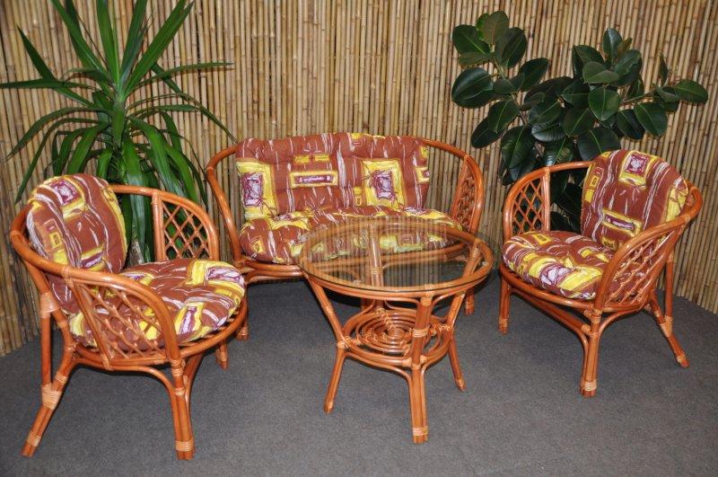 Ratanová sedací souprava Cayman velká cognac hnědý list
