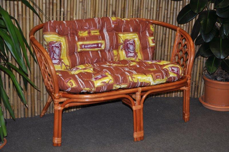 Ratanová lavice Cayman koňak polstr hnědý list