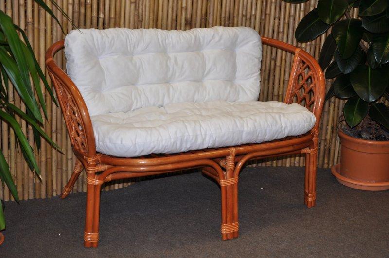 Ratanová lavice Cayman koňak polstr bílý