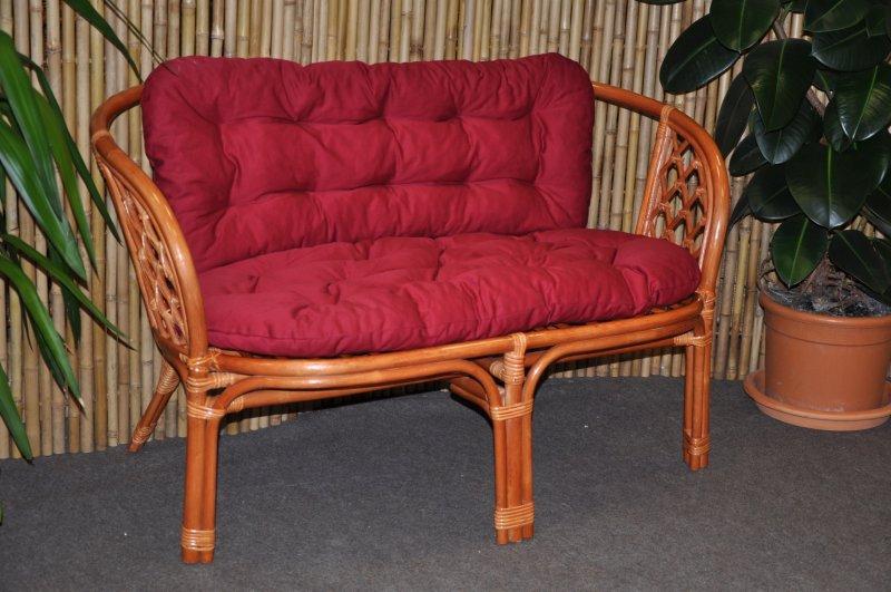 Ratanová lavice Cayman koňak polstr vínový